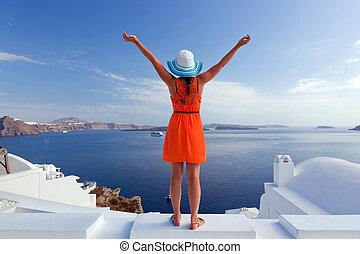 vrouw, toerist, eiland, reizen, santorini, greece., vrolijke...