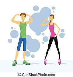 vrouw, tonen, spierballen, paar, atletisch, bicep, sportende, man