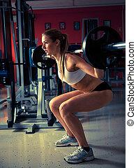 vrouw trainen, in, fitness, -, actief, meisje