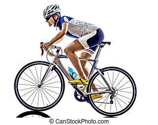 vrouw, triathlon, ironman, atleet, fietser, cycling