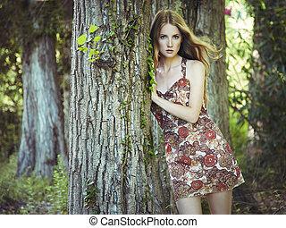 vrouw, tuin, jonge, mode, verticaal, sensueel