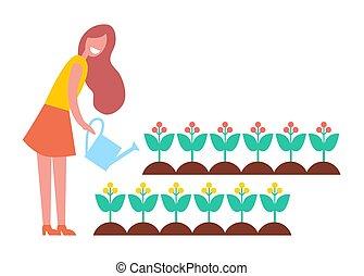 vrouw, tuin, werkende , bloemen, spotprent, pictogram
