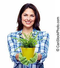 vrouw, tuinieren, plant.