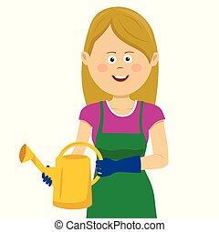 vrouw, tuinieren, stalletjes, watering, jonge, groenteblik, vrolijke