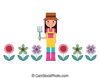 vrouw, tuinman, pictogram