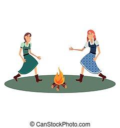 vrouw, twee, vreugdevuur, dancing
