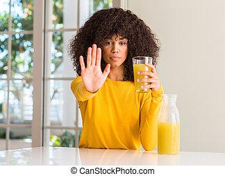 vrouw, uitdrukking, sap, gezonde , stoppen, fruit, hand, ...