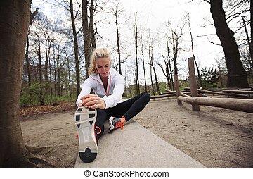 vrouw, uitvoeren, haar,  Stretching, spierballen, Voor