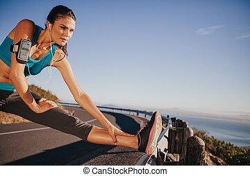 vrouw, uitvoeren, haar,  Stretching, benen, Voor