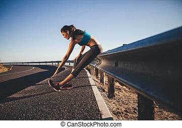 vrouw, uitvoeren, jonge, na,  Stretching