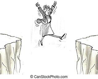 vrouw, uitvoerend, sprongen, door, kloof