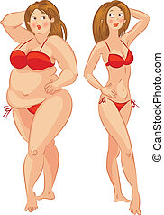 vrouw, vector, illustra, mager, dik