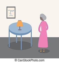vrouw, vector, oud