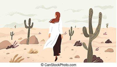 vrouw, vector, uitje, eenzaamheid, spotprent, illustration., ontdekking, meisje, character., gelegenheid, het reizen, leegte, enkel, exploratie, concept., metaphor., plat, zoeken, woestijn
