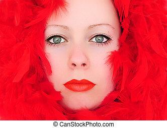 vrouw, veertjes, rood