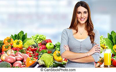 vrouw, vegetables., vruchten