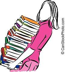 vrouw, verdragend, boekjes , illustratie