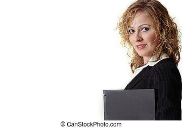 vrouw, verdragend, draagbare computer
