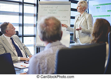 vrouw, vergadering, zakelijk, het geleiden