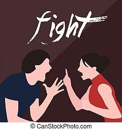 vrouw, verhouding, scheiding, paar, vechten, het schreeuwen...