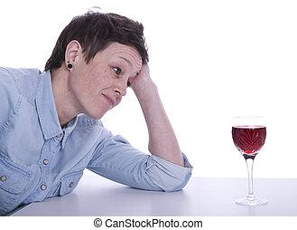 vrouw, verleide, door, alcohol
