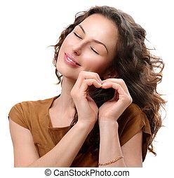 vrouw, verliefd, het tonen, hart, met, haar, hands., st....