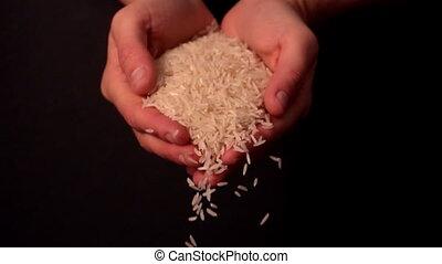 vrouw, verspillen, witte rijst, van, haar
