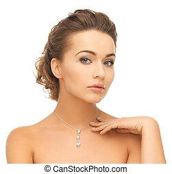 vrouw, vervelend, glanzend, diamant, hangertje