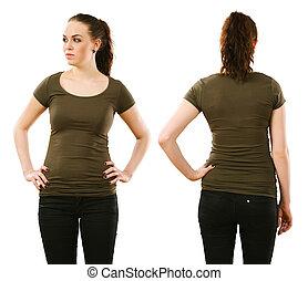 vrouw, vervelend, leeg, olive, groen hemd