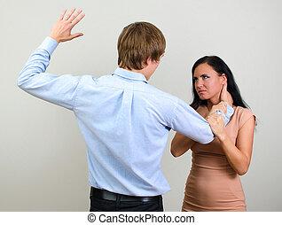 vrouw, violence, huiselijk, slapping, afbeelden, man