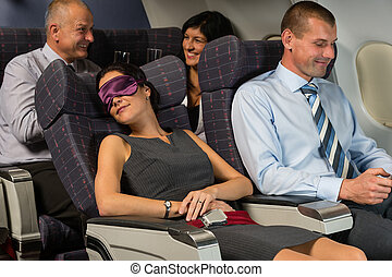 vrouw, vlucht, zakelijk, slaap, gedurende, vliegtuig stulp