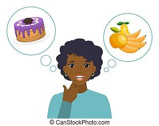 vrouw, voeding, voedingsmiddelen, illustration., vector, dieet, tussen, concept, kiezen, ongezonde , vrouwlijk, gezonde