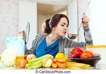 vrouw, voedingsmiddelen, jonge, tests