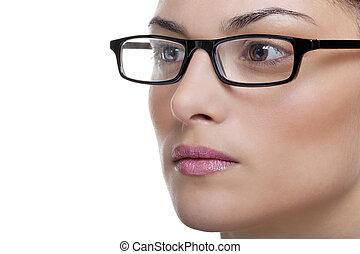 vrouw voerende bril