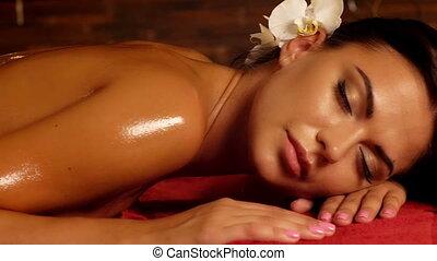 vrouw, voetjes, hebben, spa, salon., masseren