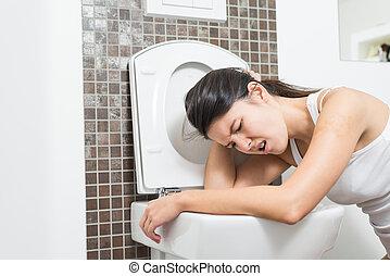 vrouw, vomiting, in, de, toilet kom