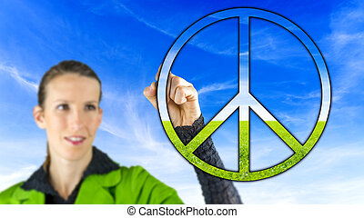 vrouw, vrede teken