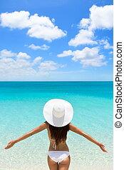 vrouw, vrijheid, vakantie, ontsnapping, tropische , luxe