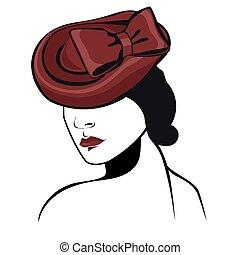 vrouw, vrijstaand, achtergrond., kleuren, vector, black , grafiek, witte hoed, rood