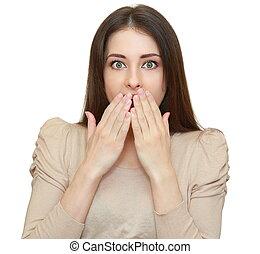 vrouw, vrijstaand, geshockeerde, het kijken, mond, handen, ...