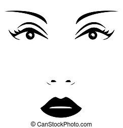 vrouw, vrijstaand, gezicht