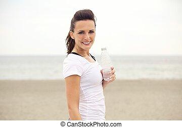 vrouw,  Water, Gebotteld,  fitness, strand, vrolijke