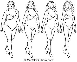 vrouw, weg, gewicht, verliezen