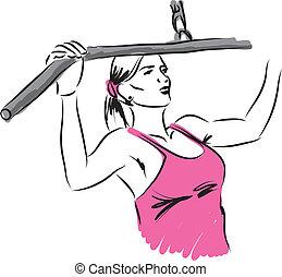 vrouw, werken-buiten, illustratie