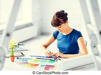 vrouw, werkende , met, de steekproeven van de kleur, voor,...