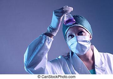 vrouw, werkende , onderzoeker, medisch, image:, chemicaliën