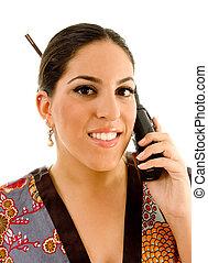 vrouw, werkende, telefoon, jonge, klesten, kimono, mooi