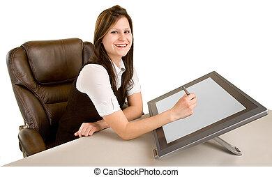 vrouw, werkje tabel, digitale