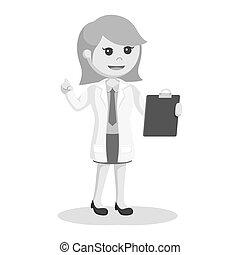 vrouw, wetenschapper, klembord