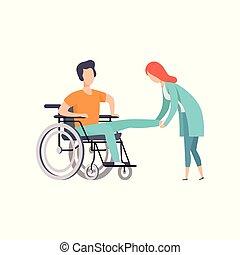 vrouw, wheelchair, zittende , medische arts, illustratie, portie, vector, therapie, vrouwlijk, activiteit, rehabilitatie, spotprent, lichamelijk